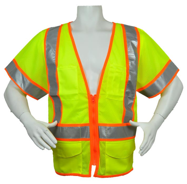 3A Safety - ANSI Certified Ultra-lightweight Safety Vest with Contrasting Outlines Lime Color Size XX-large