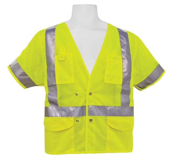 3A Safety - ANSI Class III Adjustable Breakaway Vest Lime Color Size 3XL/4XL