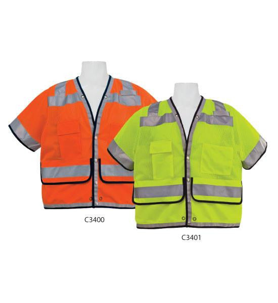 3A Safety C3401 4XL ANSI Class III Fire Resistant Heavy Surveyor Vest, Lime