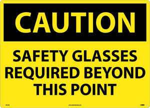 Large Format Caution Safety Glasses Required Sign