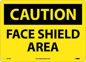 Caution Face Shield Area Sign