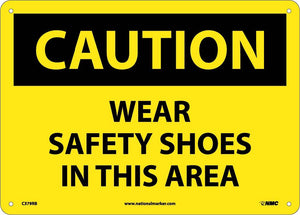 Caution Wear Safety Shoes In This Area Sign
