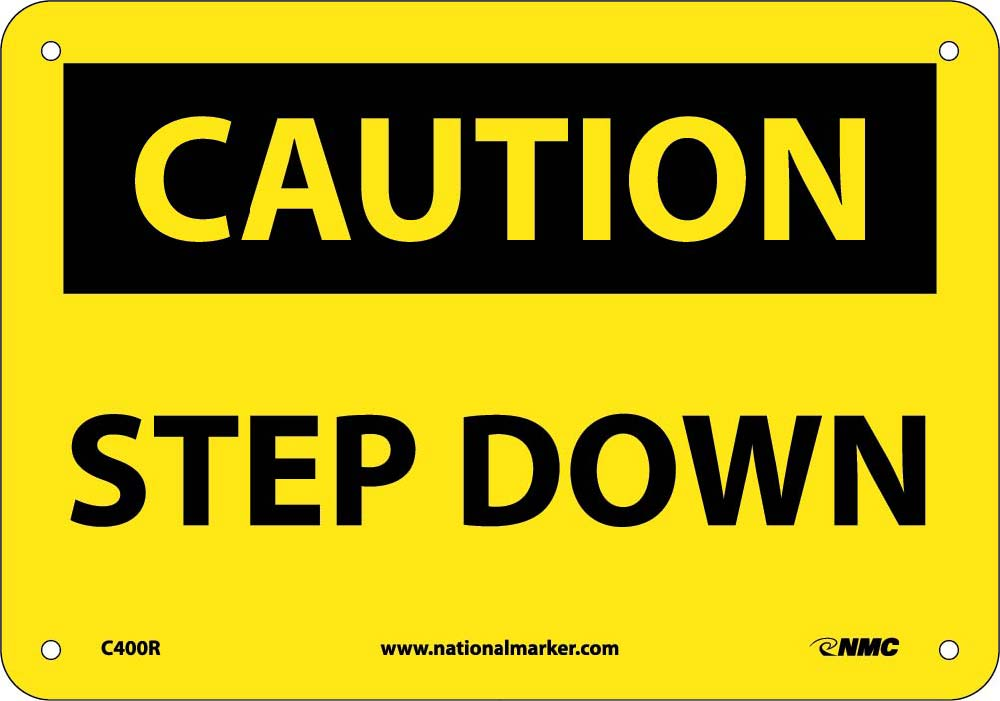 Caution Step Down Sign