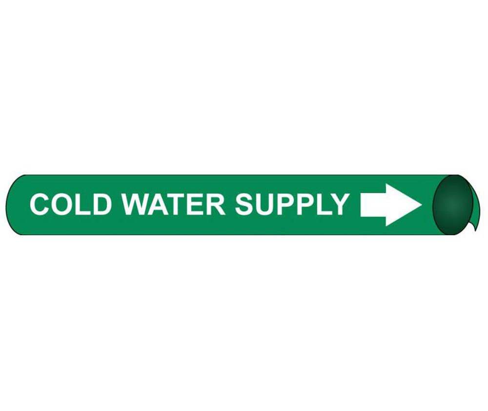Cold Water Supply Precoiled/Strap-On Pipe Marker