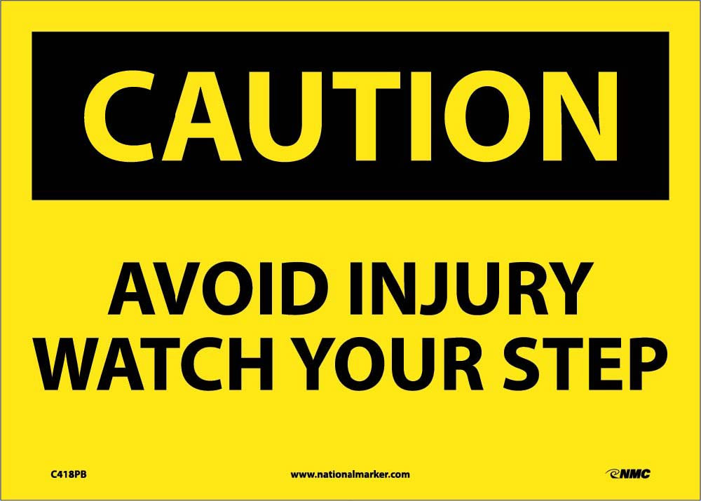 Caution Avoid Injury Watch Your Step Sign