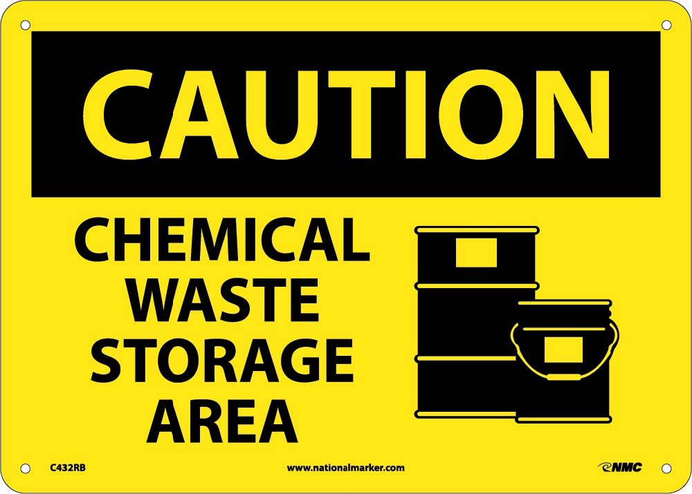 Caution Chemical Waste Storage Area Sign