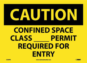 Caution Confined Space Permit Required Sign