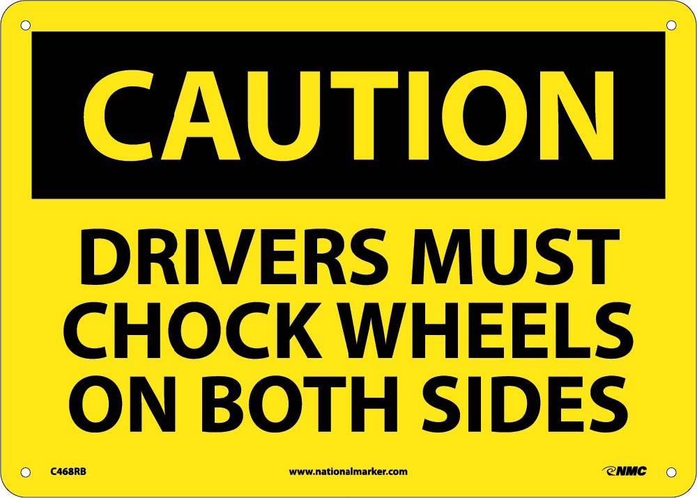 Drivers Must Chock Wheels On.. Sign