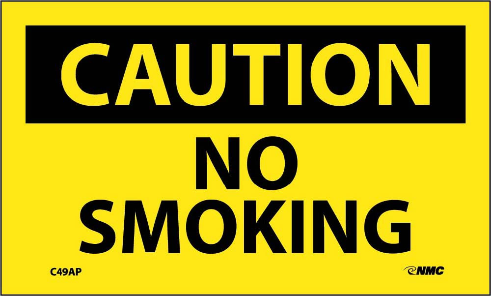 Caution No Smoking Label - 5 Pack