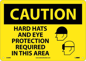 Caution Hats And Eye Protection Required Sign