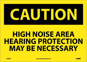 Caution High Noise Area Hearing Protection Sign