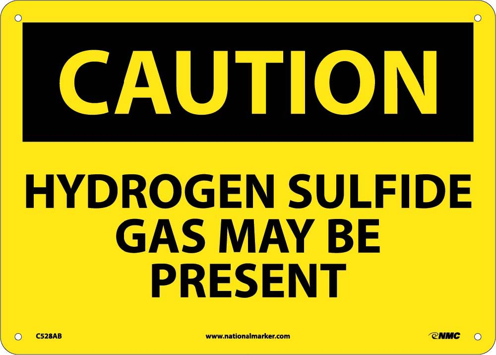 Caution Hydrogen Sulfide Gas May Be Present Sign