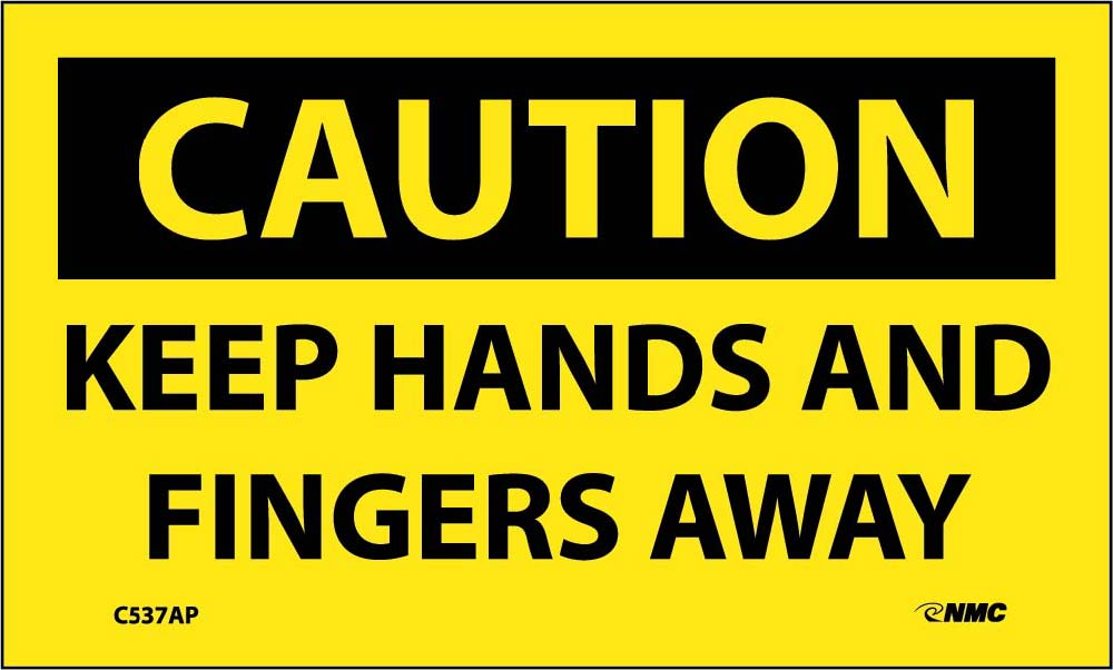 Caution Keep Hands And Fingers Away Label - 5 Pack