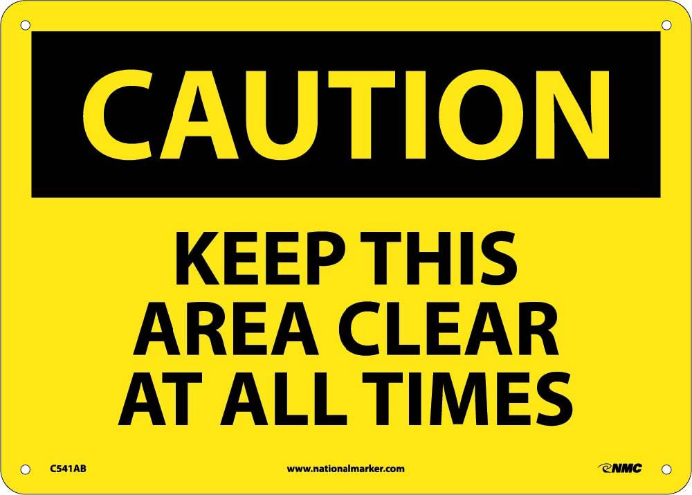 Keep This Area Clear At All Times Sign