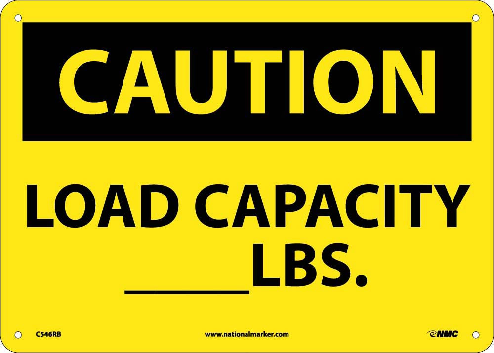 Caution Load Capacity _Lbs. Sign