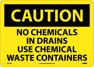 Caution No Chemicals In Drains Sign