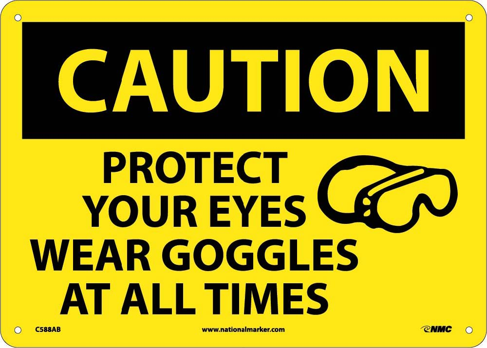 Caution Protect Your Eyes Sign