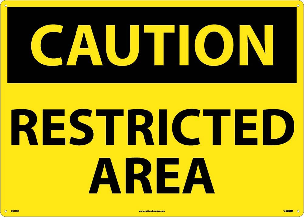 Large Format Caution Restricted Area Sign