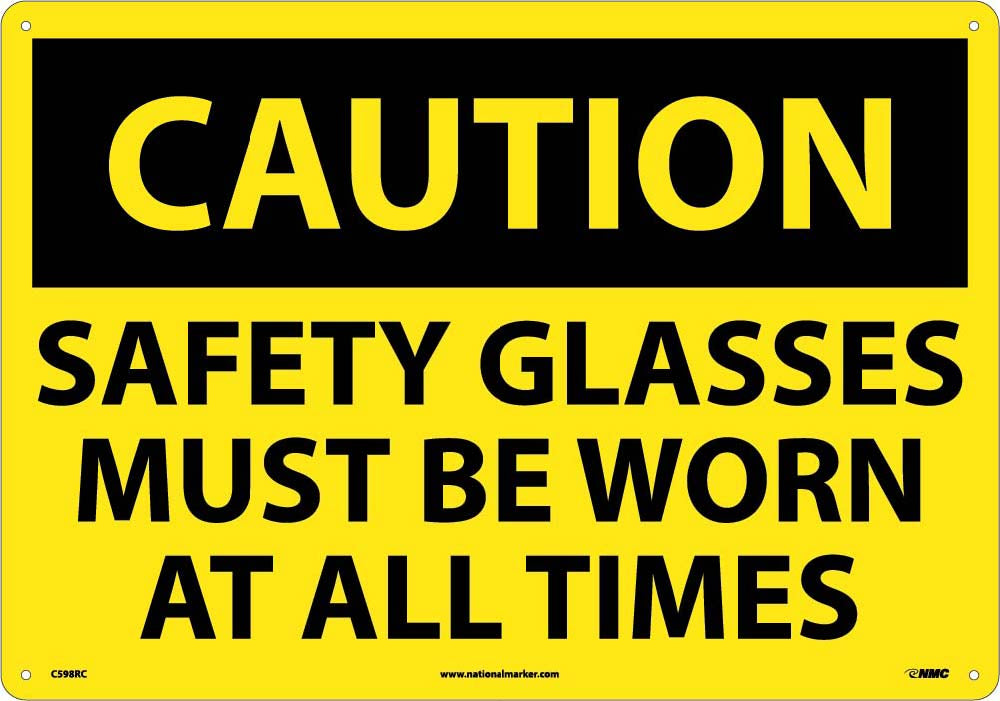 Large Format Caution Safety Glasses Must Be Worn Sign