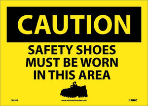 Caution Safety Shoes Must Be Worn In This Area Sign