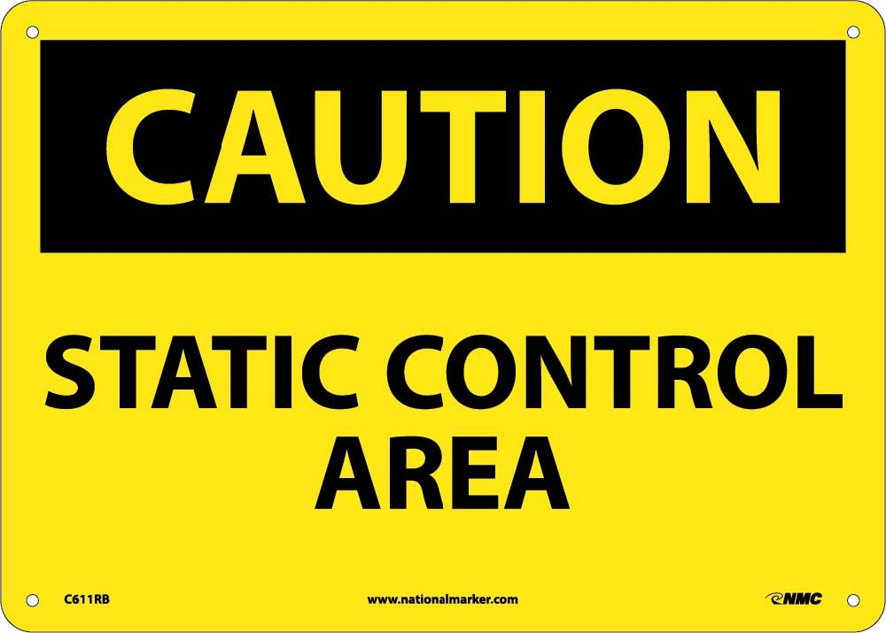 Caution Static Control Area Sign