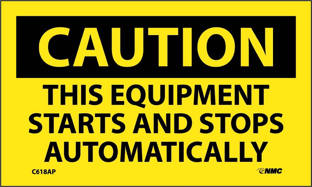 Caution This Equipment Starts And Stops Automatically Label - 5 Pack