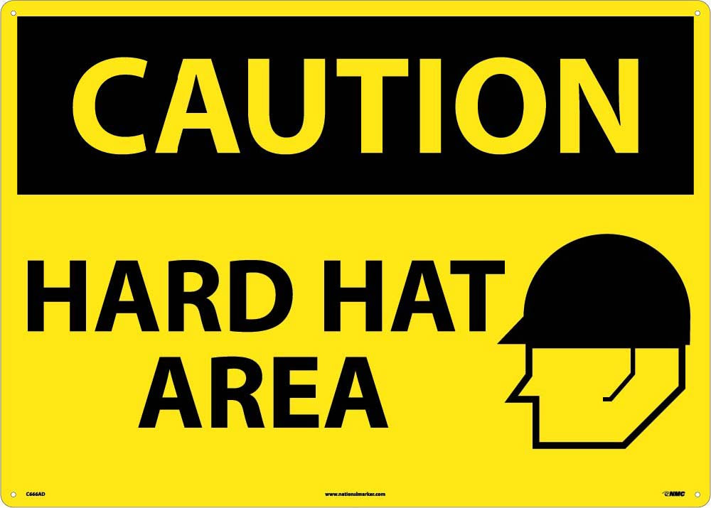 Large Format Caution Hard Hat Area Sign