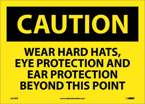 Wear Hard Hats Eye Protection And Sign