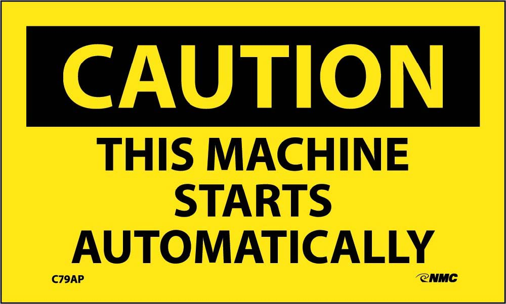 Caution This Machine Starts Automatically Label - 5 Pack