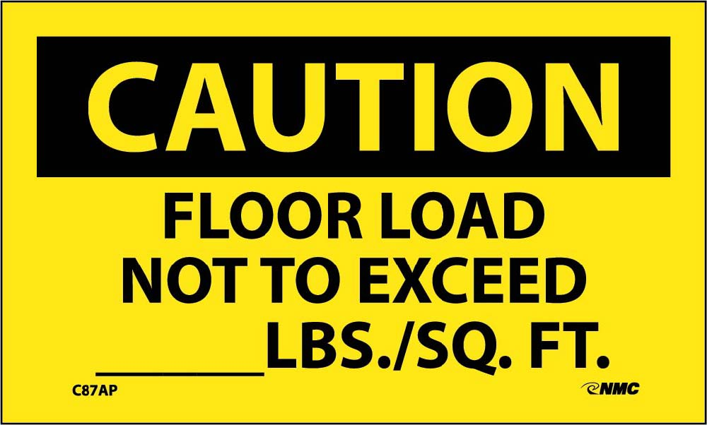 Caution Floor Load Restrictions Label - 5 Pack