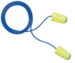 3M Large Single Use E-A-Rsoft Yellow Neons Tapered Polyurethane Foam Corded Earplugs With Vinyl Cord