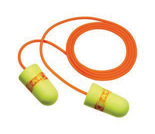 3M Single Use E-A-Rsoft SuperFit Tapered Polyurethane Foam Corded Earplugs With Vinyl Cord