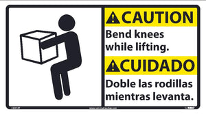 Caution Bend Knees While Lifting Sign - Bilingual