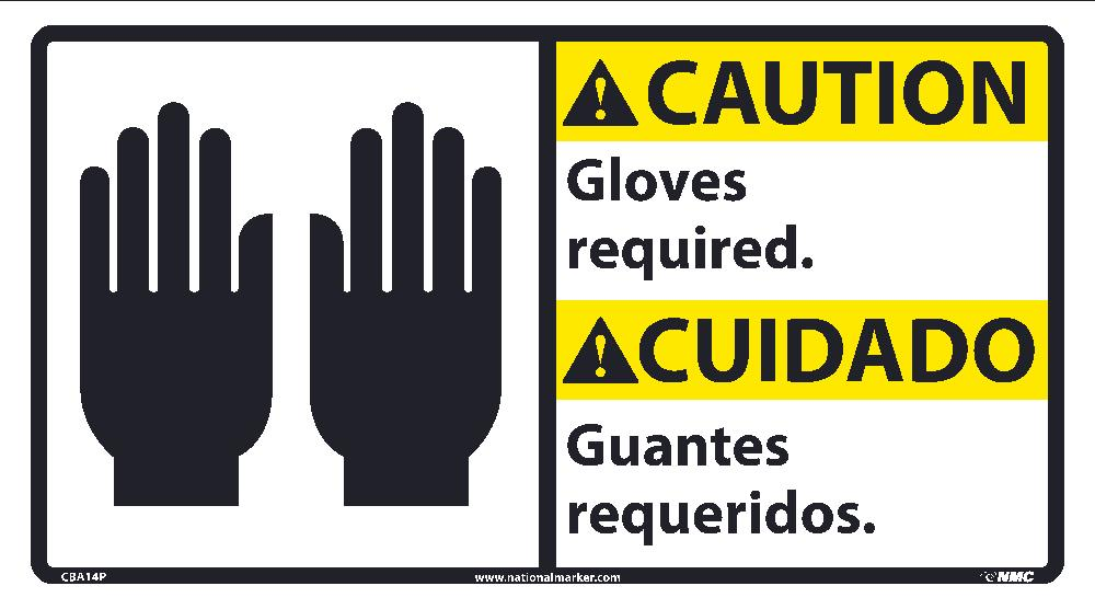 Caution Gloves Required Sign - Bilingual
