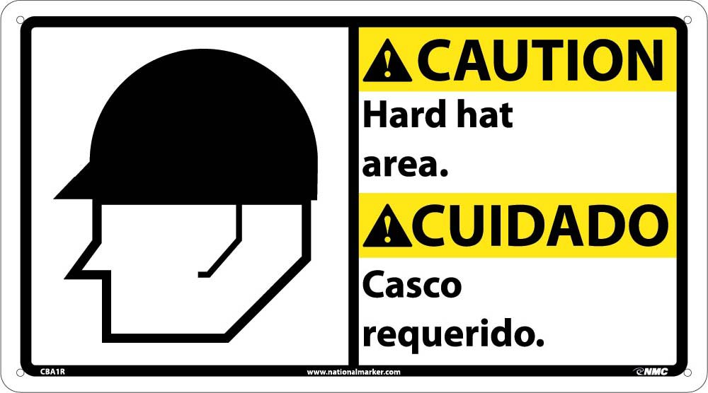 Caution Hard Hat Area Sign - Bilingual