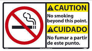 Caution No Smoking Beyond This Point Sign - Bilingual