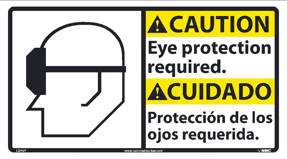 Caution Eye Protection Required Sign - Bilingual