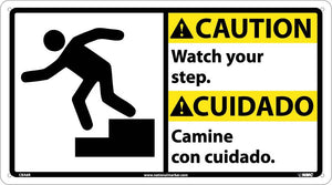 Caution Watch Your Step Sign - Bilingual