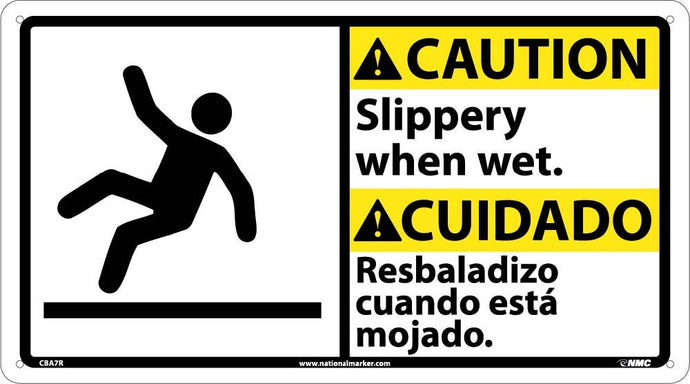 Caution Slippery When Wet Sign - Bilingual