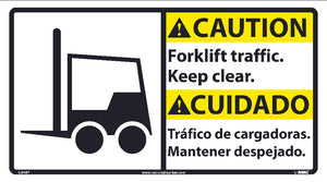 Caution Forklife Traffic Keep Clear Sign - Bilingual