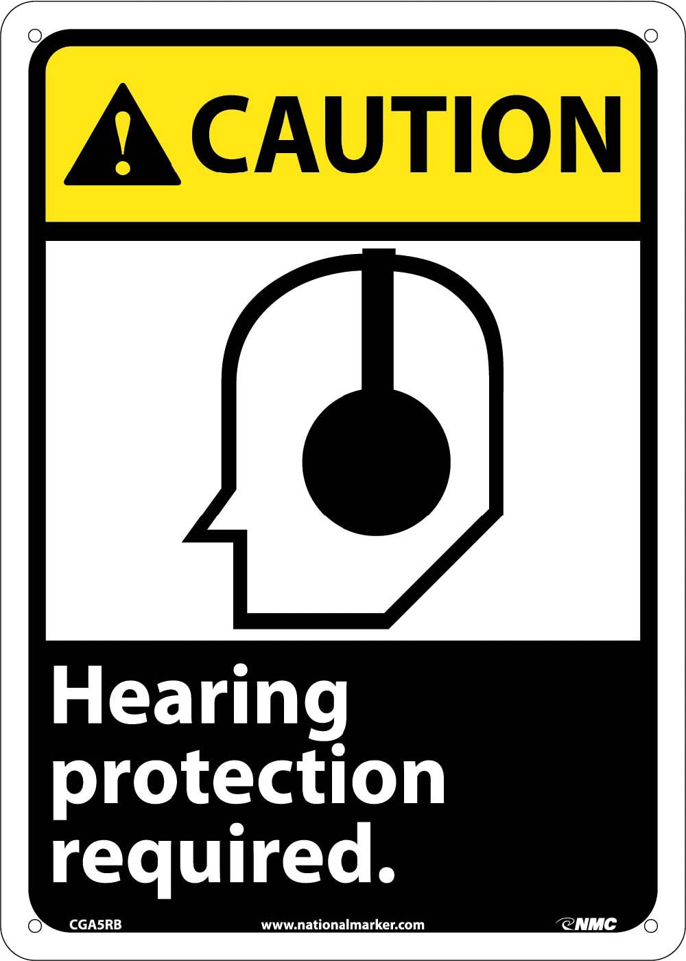 Caution Hearing Protection Required Sign