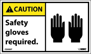 Caution Safety Gloves Required Label - 5 Pack