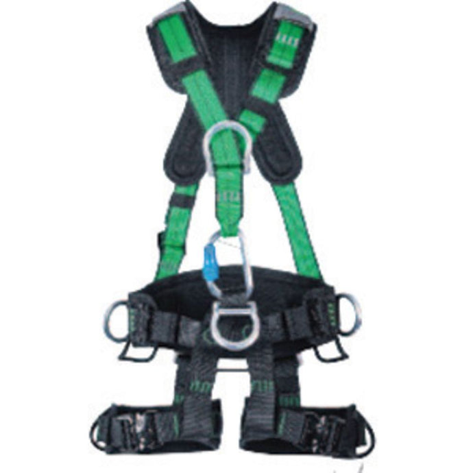 MSA Large Green Gravity Full Body Suspension Harness With Quick Connect Leg Strap Buckle, Aluminum D-Ring Hardware And Carabiner