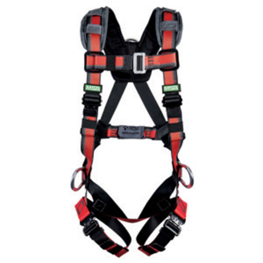 MSA EVOTECH Lite X-Large Full Body Harness With Quick Connect Leg Straps, Back And Hip D Rings