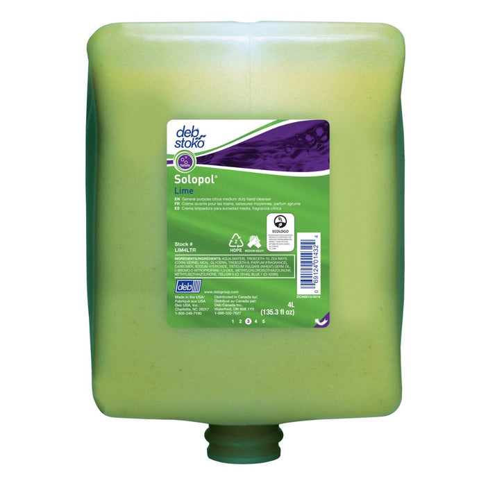 Deb 4 Liter Refill Green Solopol Scented Hand Cleaner (4 Hand Cleaners - Pack)
