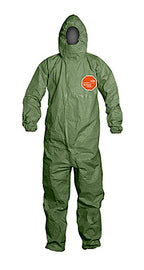 Dupont® Green Tychem® 2000 SFR Flame Resistant Hooded Coveralls With Front Zipper Closure Storm Flap Closure And Taped Seam