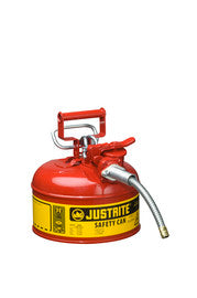 "Justrite-1 Gallon Red AccuFlow- Galvanized Steel Type II Vented Safety Can With Stainless Steel Flame Arrester And 5/8"" Metal Hose (For Flammable Liquids)"
