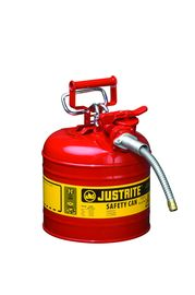 "Justrite® 2 Gallon Red AccuFlow™ Galvanized Steel Type II Vented Safety Can With Stainless Steel Flame Arrester And 5/8"" Metal Hose (For Flammable Liquids)"