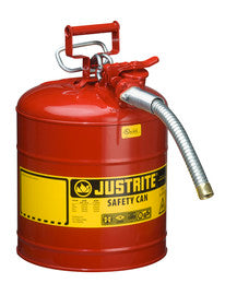 "Justrite- 5 Gallon Red AccuFlow- Galvanized Steel Type II Vented Safety Can With Stainless Steel Flame Arrester And 1"" Metal Hose (For Flammable Liquids)"