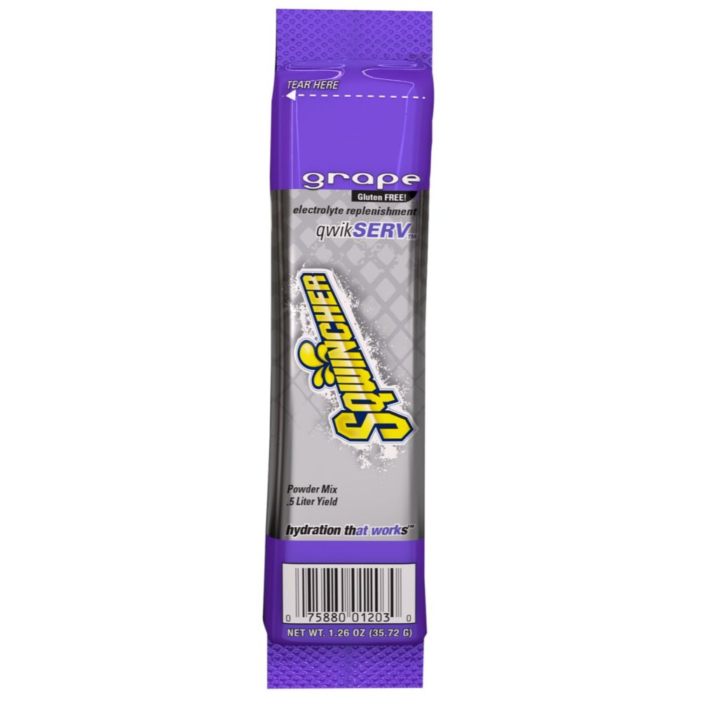 Sqwincher 1.26 Ounce Grape Flavor Qwik Serv Powder Concentrate Package Electrolyte Drink